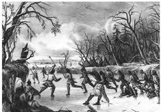 A depiction of Abenaki Native Americans engaging in sporting. Abenaki were the original inhabitants of the peninsula that is now Portland, Maine