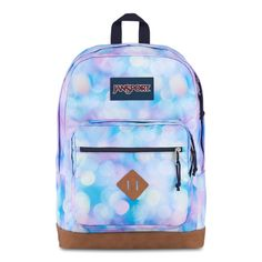 JanSport City View Backpack City Lights features Internal laptop sleeve fits up to 15-in. laptop Spacious main compartment holds all of your gear Hidden back stash pocket Padded shoulder straps for comfortable carrying Front utility pocket with organizer Zippered front stash pocket Synthetic leather bottom adds durability Web haul handle Handbags For School, School Bags, Jansport Backpack, School Backpacks, City Lights, School Supplies, Shoulder Straps, Laptop Sleeves, Handle