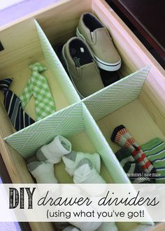 DIY Drawer Dividers made from some variegated cardboard I had leftover from a few other projects & contact paper.
