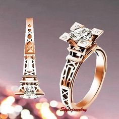 The Eiffel Tower wedding ring engagement ring love forever ring