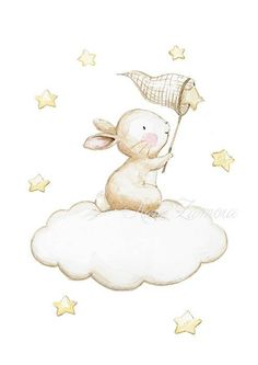 Nursery Art BUNNY FISHING STARS Art Print, Neutal Nursery Wall Art. A Perfect drawing for a room of a beautiful baby! Its a reproduction of my original illustration printed with detailed on special watercolor paper 200 g. honed natural white, acid-free and 100% cellulose, gives