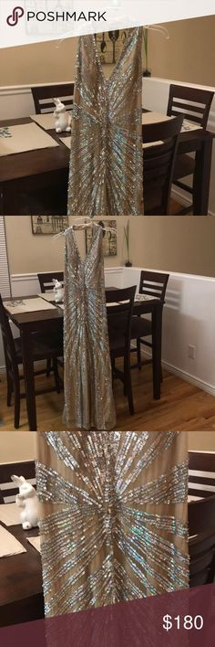 Nude sequin formal gown My absolute favorite! Looks even cute on! Nude gown with silver sequins. Great condition. Long. David's Bridal Dresses Prom