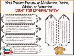 Turkey Math Word Problem Craftivity- FREE Great for 2-4 Grade (Multiplication, Division, Addition, and Subtraction)