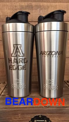 The perfect tailgate swag!  Our ice shaker bottles hold ice for over 30 hours!  Keep your water, beers or mixed drinks cold and all while representing.  #Beardown #universityofarizona #hardedge #arizonawildcats #arizonalove