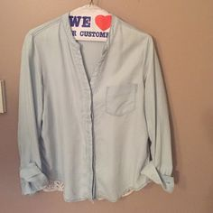 Cotton lace shirt Soft cotton denim like shirt with back lace.  Darling! Anthropologie Tops Button Down Shirts