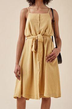 WOMAN DOUBLE GAUZE STRAP DRESS   TINYCOTTONS US Holiday Dresses, Summer Dresses, Gauze Clothing, Gauze Dress, Sewing Clothes, Dresses Online, Dress Outfits, Fashion Design, Shoulder Straps