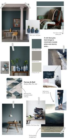 Farrow & Ball collage - Inchyra Blue. Our White Brushed engineered oak flooring, which boasts a delicate spectrum of shades from silver and sand through to chocolate and grey, would look fabulous with this scheme.