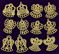 Angel Charms and Mini Angel BundleK-Lace Angels machine embroidery designs, freestanding lace Crochet Christmas Ornaments, Christmas Crochet Patterns, Crochet Snowflakes, Christmas Angels, Crochet Doilies, Christmas Crafts, Crochet Angels, Angel Crafts, Religious Gifts