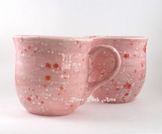 Large Cotton Candy Pink Ceramic Mugs Set of 2 on Handmade Artists' Shop
