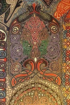 rampant celtic revival meets Art Nouveau via wyvernfriend Book Of Kells, Celtic Symbols, Celtic Art, Celtic Knots, Celtic Patterns, Celtic Designs, Art Nouveau, Irish Celtic, Illuminated Manuscript