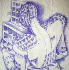 Ink on silk - art drawing - Augusto Zerbi