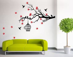 Birdcage and Pink Blossom Tree Branch Spring Floral Wall Decal Sticker Decor ** Product Description  Decal is die-cut without background and will show