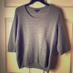 Gap Gray Knit Sweater 3/4 length sleeve gray knit sweater. GAP Sweaters Crew & Scoop Necks