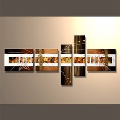 Abstract 5 Panel Framed Canvas Art #Abstract #CanvasArt #Framed #ReadyToHang