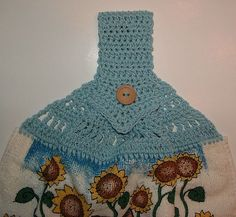 Blue Cat Crocheted Towel Topper