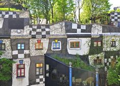 the KunstHaus Wien Museum in Vienna, Austria. The odd museum, which houses the work of artist and architect Friedensreich Hundertwasser