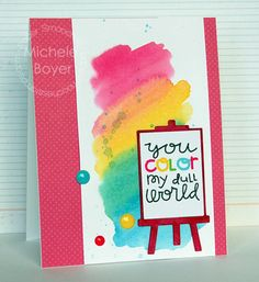 You Color My Dull World - Scrapbook.com - Lovely watercolor background!