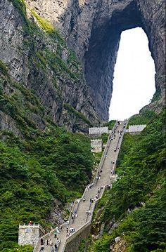 China.Tianmen Mountain, Heaven's Gate (999 steps), Hunan.