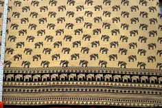Tribal print cotton Folk art elephant print fabric by yard by VedahDesigns on Etsy