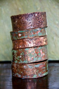 Love these weathered hammered copper bracelets!