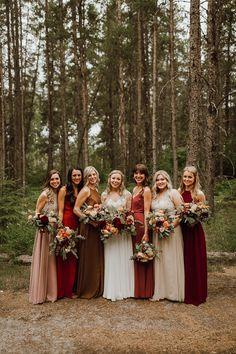 Rustic Fall Backyard Wedding in Manitoba | Junebug Weddings Rainy Wedding, Fall Wedding, Dream Wedding, Wedding Stuff, Wedding Shit, Fall Bridesmaid Dresses, Brides And Bridesmaids, Earth Tone Wedding, Forest Wedding