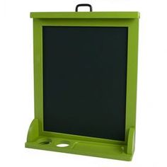 """Reversible easel with a dry-erase surface and chalkboard.      Product: Easel    Construction Material: Layered birch    Color: Apple green and black     Features:     Movable tray holds markers and chalk   Magnetized surface -magnets included   Carefully finished with durable, non-toxic, lead-free finish       Dimensions: 23.5"""" H x 18.5"""" W x 5"""" D    Note: Assembly required. Chalk not included.  Cleaning and Care: Cleans easily with a damp cloth"""