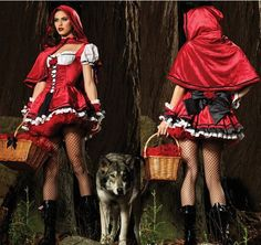 Free Shipping Adult Fancy Women Little Red Riding Hood Costume Sexy Halloween Costumes,Fairytale Princess costume $19.60