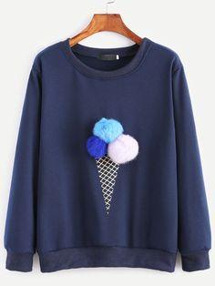 Navy Ice Cream Print Pom Pom Sweatshirt