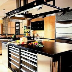 Think outside the workshop and use mechanics' cabinets in the kitchen