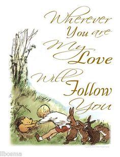 Classic Winnie The Pooh Nursery Wall Art Print My Love Will Follow | eBay