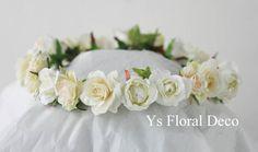 hk00249 白いお花の花冠 ys floral deco @アニヴェルセル東京ベイ