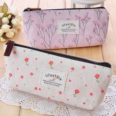 Min. order is $10(mix order) Female canvas storage bag cosmetic bag pencil case single d334-inCosmetic Bags & Cases from Luggage & Bags on A...