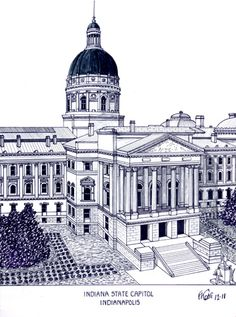 Indiana State Capitol building in Indianapolis.  ore info at http://frederic-kohli.artistwebsites.com.