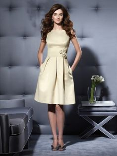 scoop back champagne bridesmaid dress