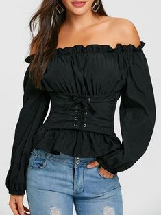 Women Off The Shoulder Lace Up Smocked Blouse Casual Long Sleeve Blouse Shirt Ruffle Blusas Ladies Tops Black One Size Blouse Corset, Blouse Sexy, Black Blouse, Look Fashion, Autumn Fashion, Fashion Outfits, Womens Fashion, Fashion Trends, Fashion Black