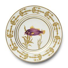 Porcelain Buffet Plate 'Or des Mers' by Alberto Pinto - Hand painted, Gold, Purple. Interior Design, Home Decor, Interior Styling, Home Inspiration, Home Styling, Interior Trends, Design Trends, Design Furniture, Interior Accessories, Design for your Home, Decorating Ideas, Interior Design Blog, Living, Styling, Design. http://whatiwouldbuy.com/PORCELAIN+DESIGN+PLATES+TABLEWARE+DINNERWARE