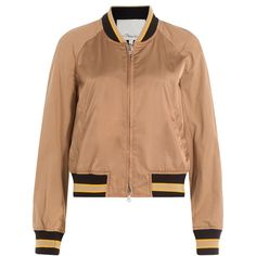 3.1 Phillip Lim Satin Bomber Jacket (6,870 GTQ) ❤ liked on Polyvore featuring outerwear, jackets, beige, 3.1 phillip lim jacket, multi color jacket, colorful jackets, reversible jacket and slim fit flight jacket