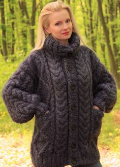 2.4 KG Hand Knitted Mohair Coat Gray Thick Cardigan Graphite Jacket SUPERTANYA