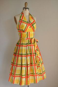 A great bold plaid Summer halter dress... yellow. orange and green plaid... a really lovely vintage party dress...