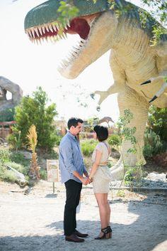 LOL... cute! DINOSAURS! Cabazon, CA Engagement Session {Katherine Elizabeth Photography}