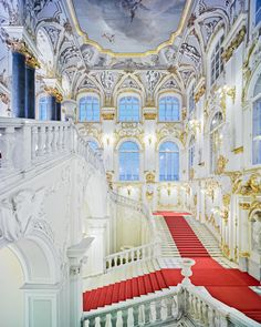 sixpenceeeThe Jordan Staircase of the Winter Palace, St Petersburg, Russia. Photo by David Burdeny Winter Palace St Petersburg, St Petersburg Russia, Beautiful Architecture, Art And Architecture, U Bahn Station, Deco Disney, Ceiling Murals, Dream Mansion, Mansion Interior