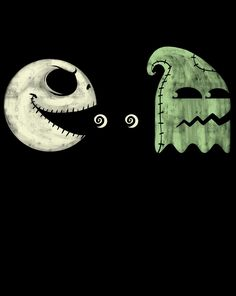 This is a creative PacMan interpretation with Jack Skellington and Oogie Boogie! Film Tim Burton, Tim Burton Art, Tim Burton Style, Disney Love, Disney Art, Disney Pixar, Dark Disney, Jack Skellington, Jack The Pumpkin King
