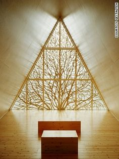 Chapel of Silence, Finland   Made almost entirely of wood, the chapel features an intricate carving of a tree, a modern take on the traditional leadlight window. Designe...