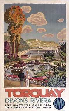 Torquay, Devon's Riviera. Artwork by Martine… Torquay, Devon's Riviera. Posters Uk, Train Posters, Railway Posters, Poster Prints, Art Prints, Beach Posters, British Seaside, British Travel, British Isles