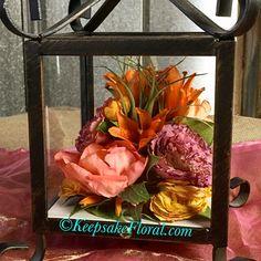 Lovely little lantern displaying beautifully preserved bridal flowers #floralpreservation #wedding #keepsakefloral