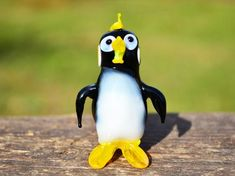 Art Glass Penguin Figurine Blown Penguin Sculpture Animals | Etsy Penguin Animals, Glass Animals, Animal Decor, Black Decor, Glass Collection, Black Glass, Small Gifts, Penguins, Glass Art
