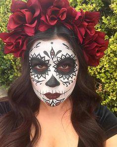 Cool Sugar Skull Makeup Look for Halloween 2016