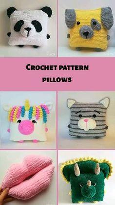 Crochet Animal Hats, Crochet Dinosaur, Crochet Cushion Cover, Crochet Cushions, Crochet Pillow Patterns Free, Crochet Patterns Amigurumi, Cute Crochet, Crochet For Kids, Handmade Ideas