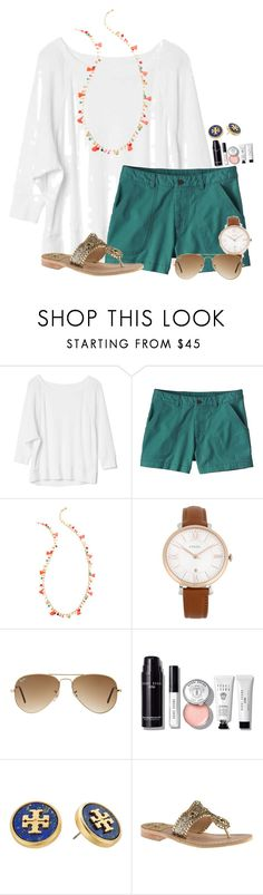 """Pizza party tonight "" by flroasburn ❤ liked on Polyvore featuring Gap, Patagonia, Lilly Pulitzer, FOSSIL, Ray-Ban, Bobbi Brown Cosmetics, Tory Burch and Jack Rogers"