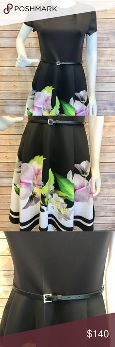 """Ted Baker """"Vidaa"""" ponte dress Sz 2 Ted Baker London """"Vidaa"""" ponte dress in signature forget me not print. Pleated jewel neckline. Short sleeves. Thin belt at natural waist. Fit-and-flare silhouette. Straight hem. Exposed back zip. Polyester/spandex. Great condition!! Ted Baker London Dresses"""